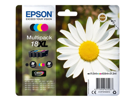 EPSON 18XL ink cartridge black and tri-colour high, myyntierä 1 KPL